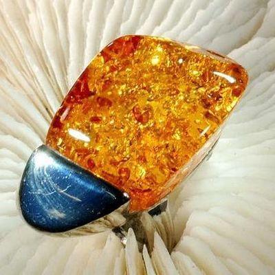 Amb 109b bague t60 cabochon 20x35mm ambre amber baltique vente bijoux argent 925