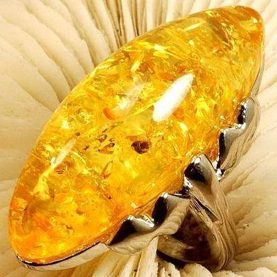 Amb 110b bague t54 cabochon 15x40mm ambre amber baltique vente bijoux argent 925