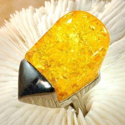 Amb 111a bague t59 cabochon 25x40mm ambre amber baltique vente bijoux argent 925