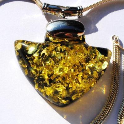 Amb 119b pendant pendentif chaine ambre vert amber baltique vente bijoux argent 925