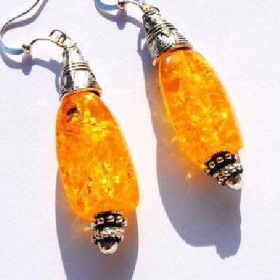 Amb 127d boucles oreilles pendants 9gr 50mm ambre baltique miel argent ethnique