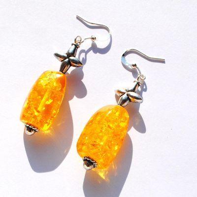 Amb 129b boucles oreilles pendants 9gr 50mm ambre baltique miel argent ethnique