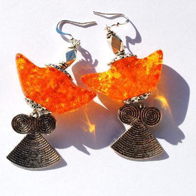 Amb 132a boucles oreilles pendants lotus 20gr 80mm ambre baltique miel ethnique