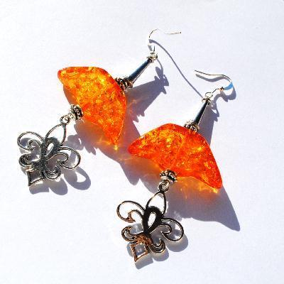 Amb 134b boucles oreilles pendants fleur lys 17gr 90mm ambre baltique miel ethnique