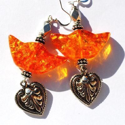 Amb 135d boucles oreilles pendants lotus 21gr 70mm ambre baltique miel ethnique