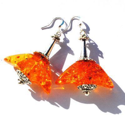 Amb 136c boucles oreilles pendants viking 17gr 60mm ambre baltique miel ethnique