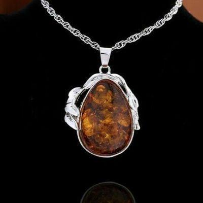 Amb 158a pendant pendentif chaine 10x15mm 19gr ambre amber baltique vente bijoux argent 925