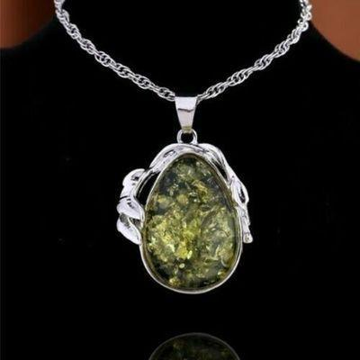 Amb 159c pendant pendentif chaine 10x15mm 19gr ambre amber vert baltique vente bijoux argent 925