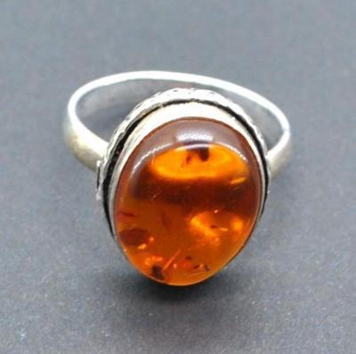 Amb 191a bague ambre argent ancienne 12x15mm t57 5gr achat vente bijoux 1