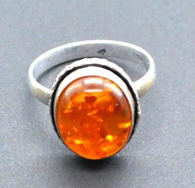 Amb 191c bague ambre argent ancienne 12x15mm t57 5gr achat vente bijoux