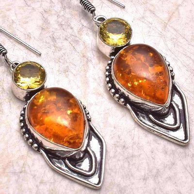 Amb 198g boucles oreilles pendants 11gr 50mm citrine ambre baltique ethnique