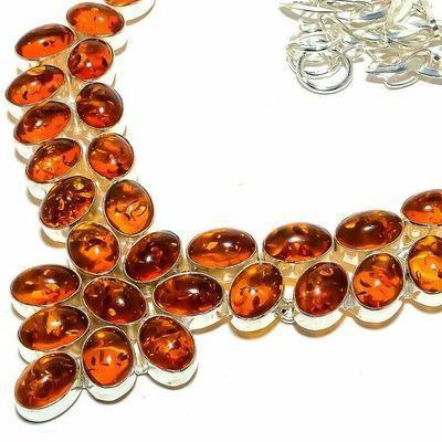 Amb 200b collier parure 63gr 15x10mm ambre miel baltique ethnique