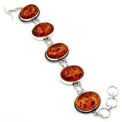 Amb 205a bracelet 30gr 18x25mm ambre miel baltique bijou argent 925 ethnique