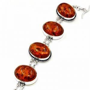 Amb 205b bracelet 30gr 18x25mm ambre miel baltique bijou argent 925 ethnique