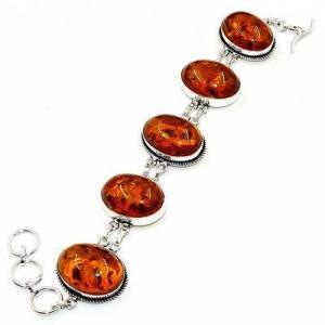 Amb 205d bracelet 30gr 18x25mm ambre miel baltique bijou argent 925 ethnique