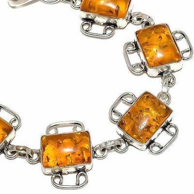 Amb 207b bracelet 15gr 10x15mm ambre miel baltique bijou argent 925 ethnique