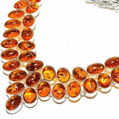 Amb 210b collier parure 75gr 15x10mm ambre miel baltique ethnique