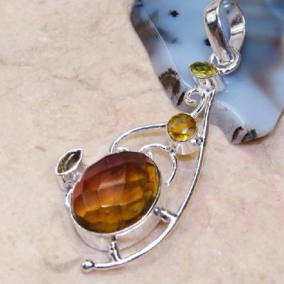 AME-113 - Pendentif Pendant  en AMETRINE et PERIDOT Argenté 925 - 38,5 carats - 7,7 gr