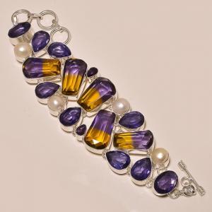 Ame 155a bracelet ametrine amethyste perle ag925