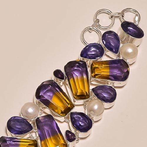 Ame 155b bracelet ametrine amethyste perle ag925 1