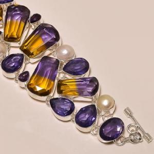 Ame 155c bracelet ametrine amethyste perle ag925