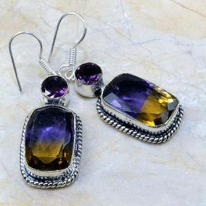 Ame 346a boucles pendants oreilles ametrine amethyste achat vente bijou argent 925