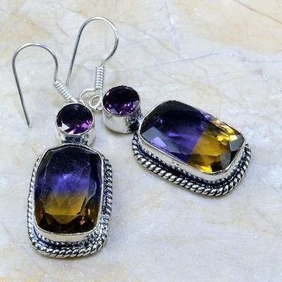 Ame 346a boucles pendants oreilles ametrine amethyste achat vente bijou argent 926