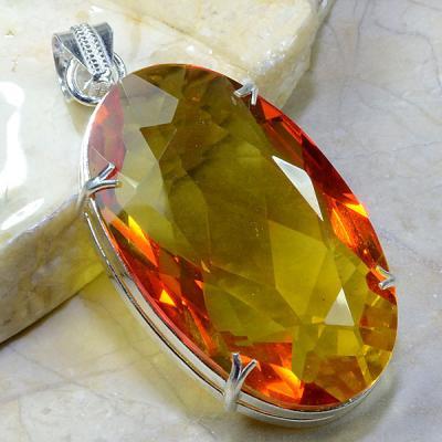 AME-408- Magnifique Pendentif Pendant AMETRINE LEMONTRINE argent 925 - 190 carats 38 gr