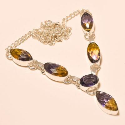 Ame 428a collier parure sautoir ametrine amethyste achat vente bijou argent 925