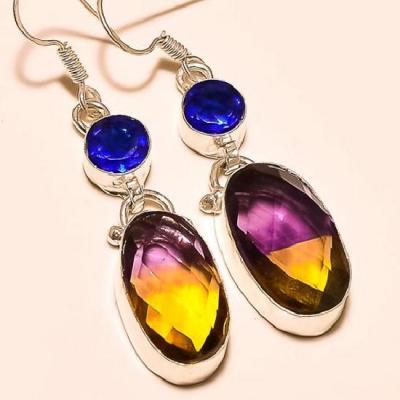 Ame 447c boucles pendants oreilles ametrine topaze achat vente bijou argent 925