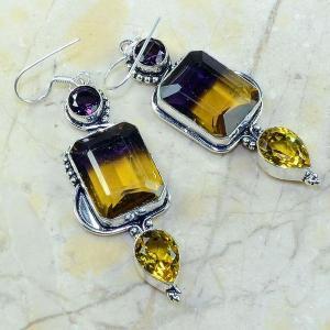 Ame 473a boucles pendants oreilles ametrine amethyste citrine achat vente bijou argent 925