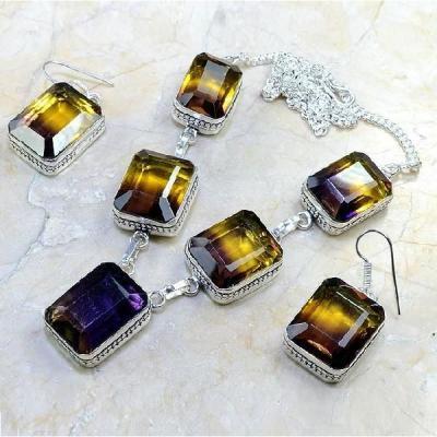 Ame 488a collier parure sautoir ametrine boucles oreilles achat vente bijou argent 925