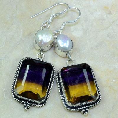 Ame 506b boucles pendants oreilles ametrine perle nacre achat vente bijou argent 925