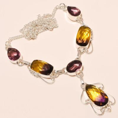 Ame 522a collier parure sautoir ametrine amethyste achat vente bijou argent 925