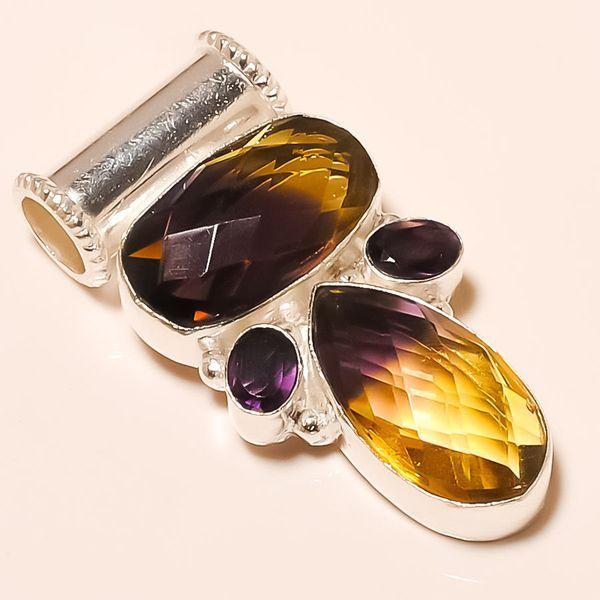 Ame 528a pendentif ametrine amethyste pierre taillee achat vente bijou argent 925