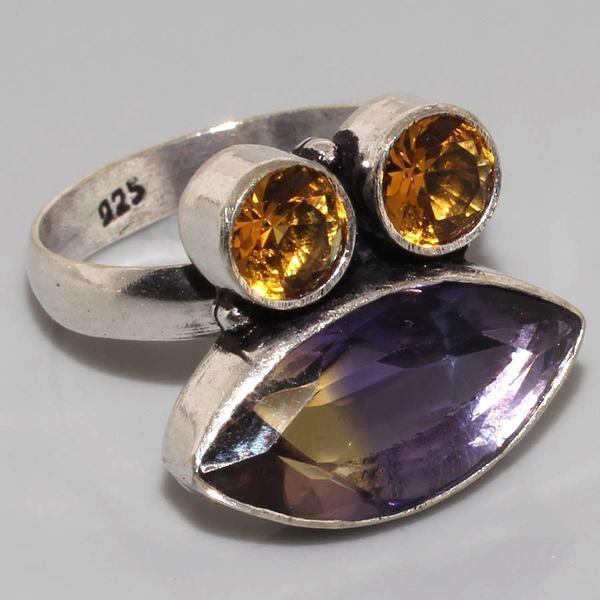 Ame 552a bague t60 ametrine citrine achat vente bijou monture argent 925