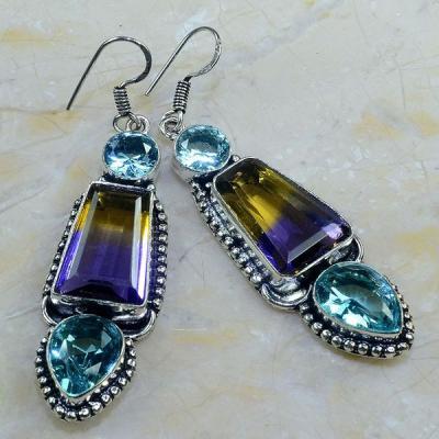 Ame 569b boucles pendants oreilles ametrine topaze bleue achat vente bijou argent 925