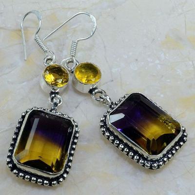 Ame 621a boucles pendants oreilles ametrine citrine achat vente bijou argent 925