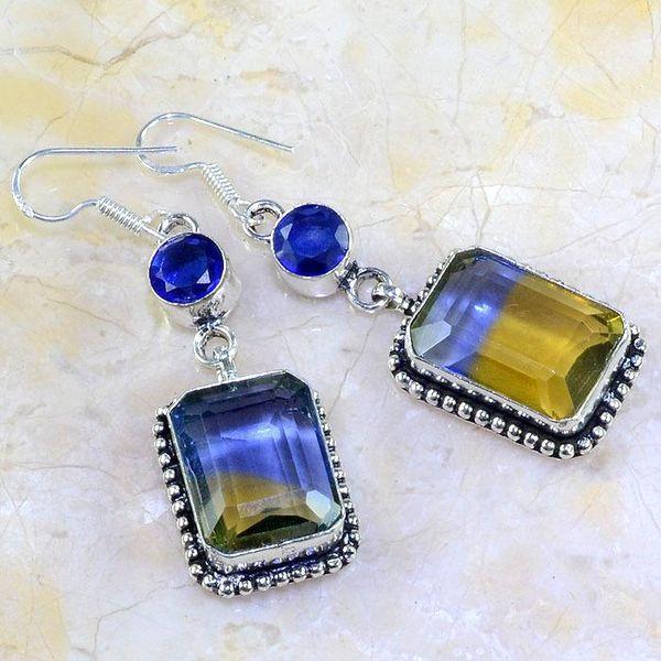 Ame 630a boucles pendants oreilles ametrine topaze bleue iolite achat vente bijou argent 925