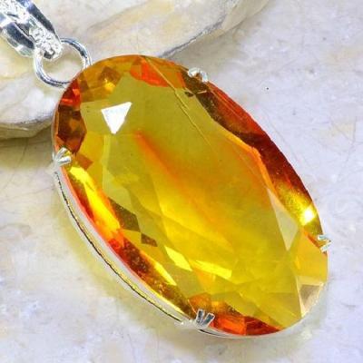 Ame 669c pendentif lemontrine ametrine orangee pierre taillee achat vente bijou argent 925
