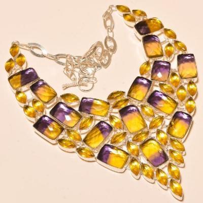 Ame 704a collier parure sautoir ametrine bolivie citrine achat vente bijou argent 925
