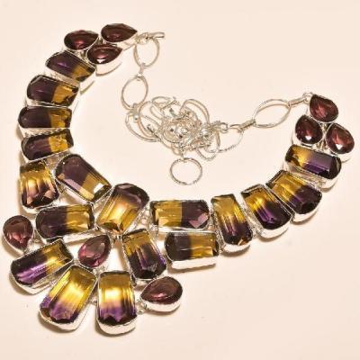 Ame 713a collier parure sautoir ametrine amethyste gemme mineraux achat vente bijou argent 925