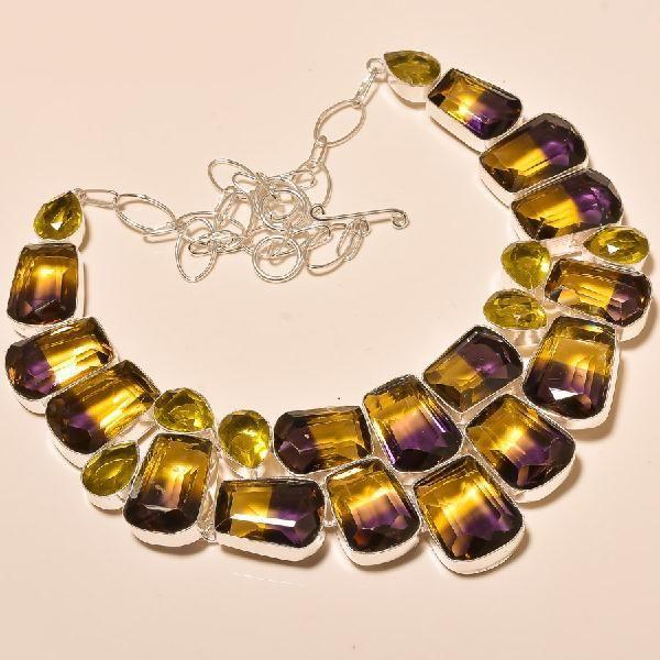Ame 715a collier parure sautoir ametrine citrine gemme mineraux achat vente bijou argent 925