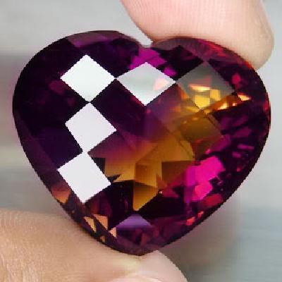 Ame 719a coeur ametrine pierre naturelle lithotherapie gemme achat vente bijou