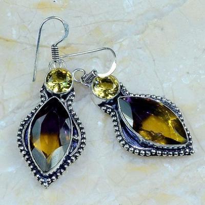 Ame 750a boucles pendants oreilles ametrine citrine achat vente bijou argent 925