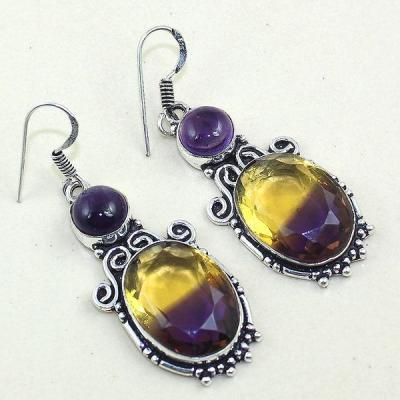Ame 754a boucles pendants oreilles ametrine amethyste achat vente bijou argent 925