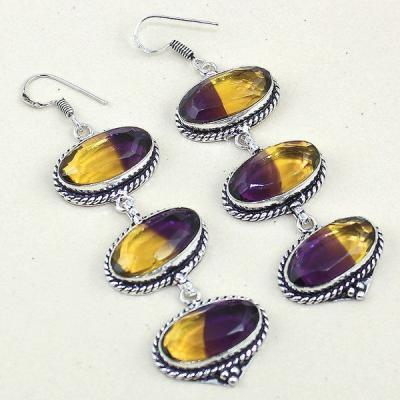 Ame 772a boucles pendants oreilles ametrine rubis achat vente bijou argent 925