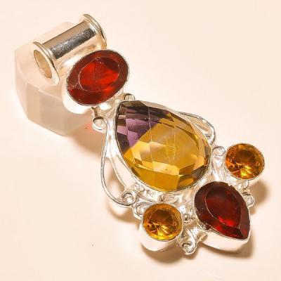 Ame 781a pendentif pendant ametrine citrine grenat achat vente bijou monture argent 925