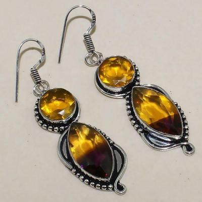 Ame 788a boucles pendants oreilles ametrine citrine achat vente bijou argent 925