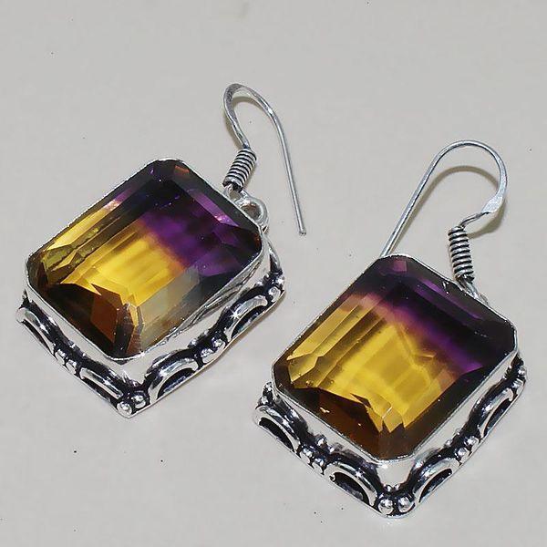 Ame 790b boucles pendants oreilles ametrine citrine achat vente bijou argent 925
